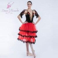 19023 Dance Favourite New Ballet Tutu Black Velvet Bodice with Red Tulle Ballet Costume Women Spanish Tutu