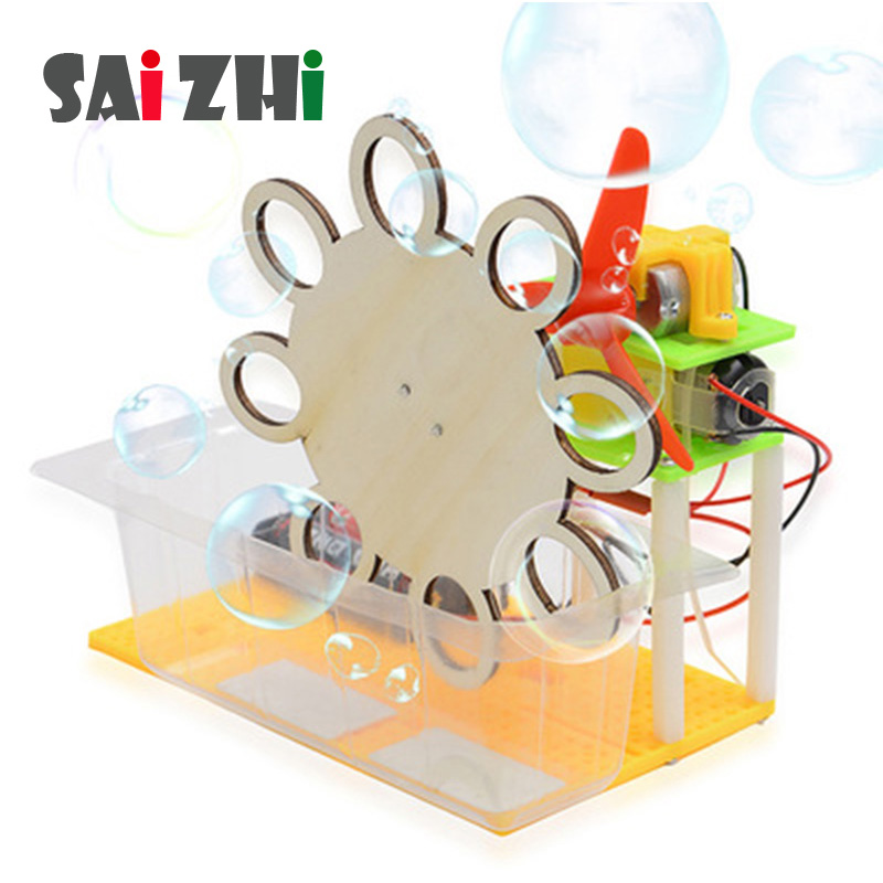 Saizhi Model Toy Diy Electric Bubble Machine Developing Intelligent STEM  Physics Experiments Birthday Gift SZ3205