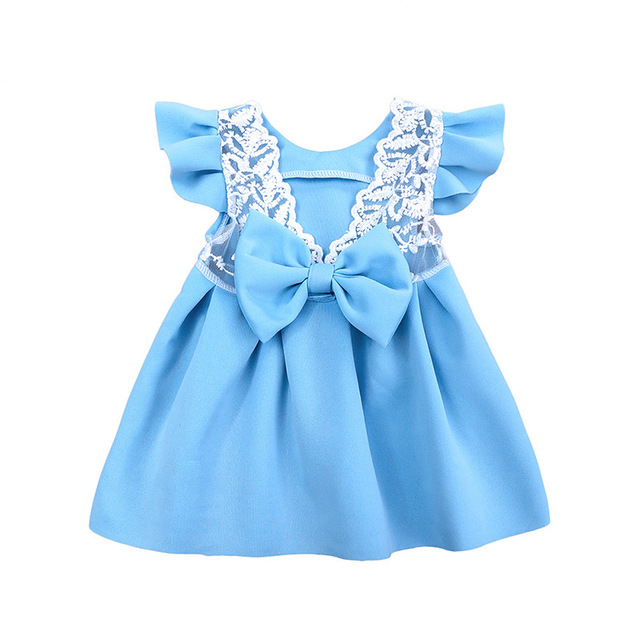Girls Dress Ball Gawn Princess Birthday Party Lace Dresses Bow Wedding Flower Girl Clothes Bebe Photography Kids Summer cloth