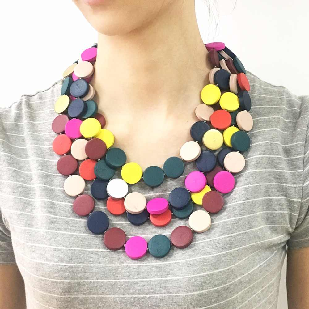 MANILAI Bohemia Multilayer Beaded Statement Necklace Womon Handmade Multicolor Wood Beads Chokers Necklace Wooden Jewelry Beach