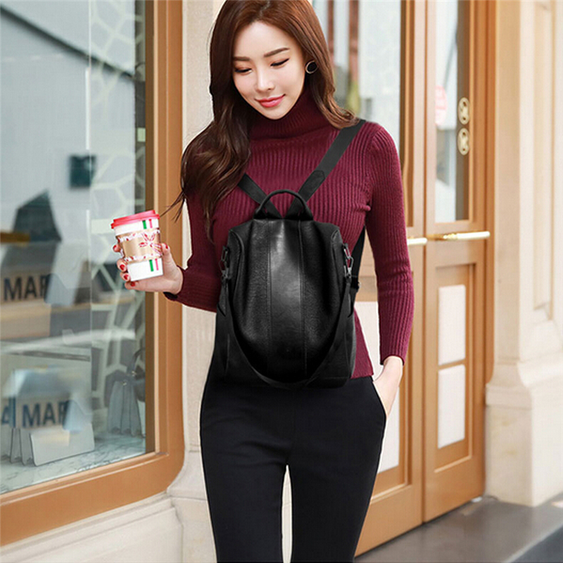 HTB1L0J RQvoK1RjSZFDq6xY3pXaU - Female anti-theft backpack classic PU leather solid color backpack canta fashion shoulder bag