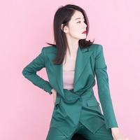 Work Korean Fashion Pant Suit 2 Piece Set for Women Slim Green Blazer Jacket +pants Office Business Lady Pant Set Outfit Y214