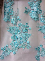 5 Yards Pink Blue Purple Mix Color Lace Fabric With Heavy Embroidered Floral Deluxe Embroidery Mesh