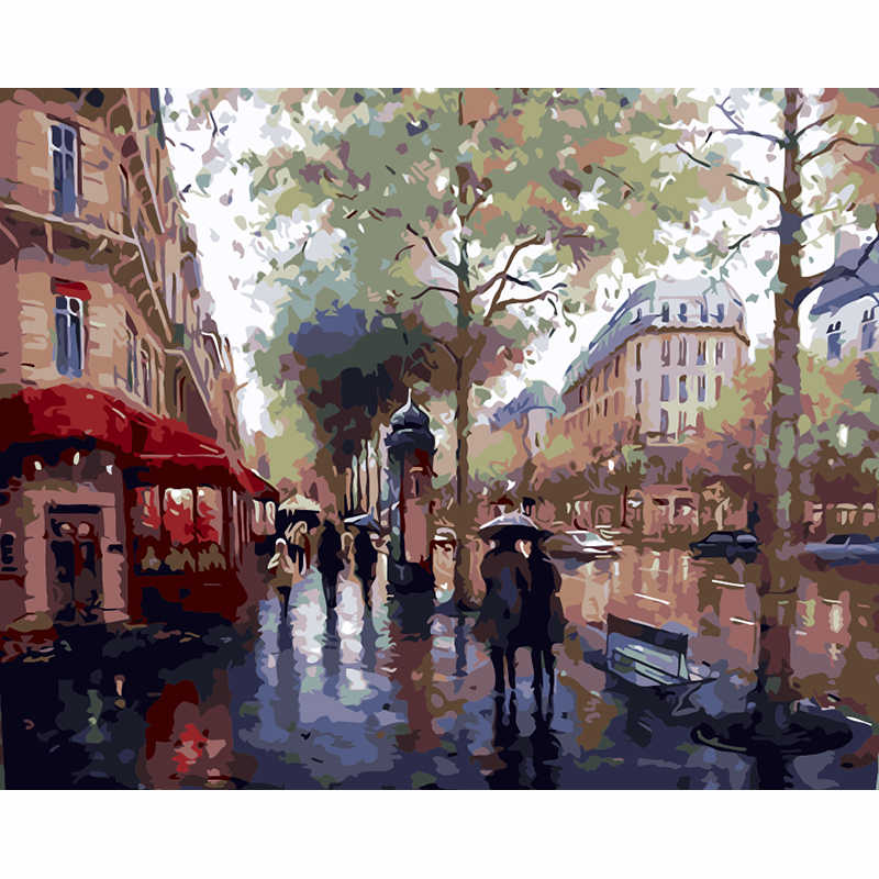 Wall Painting City In The Rain Scenic Frameless Pictures Painting By Numbers DIY Digital Oil Painting On Canvas Home Decoration