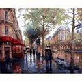 Картина на стену «Город в дожде»  сценические Безрамные Картины по номерам  DIY Цифровая живопись маслом на холсте  Декор для дома