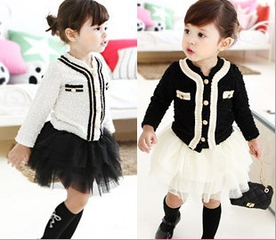 EMS DHL Free Shipping White Black Fall Spring Long Sleeve 2pc set Cardigan tutu tiers skirt Children Clothing 2-7 Years ems dhl free shipping wholesales new arrival baby holiday pettiskirt tutu skirt bow party 2pc set holiday clothing costume