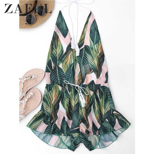 ZAFUL Backless Deep V Neck Sexy Halter Romper Jumpsuit Women Drawstring Leaf Print Summer Playsuit Ladies Beach Overalls