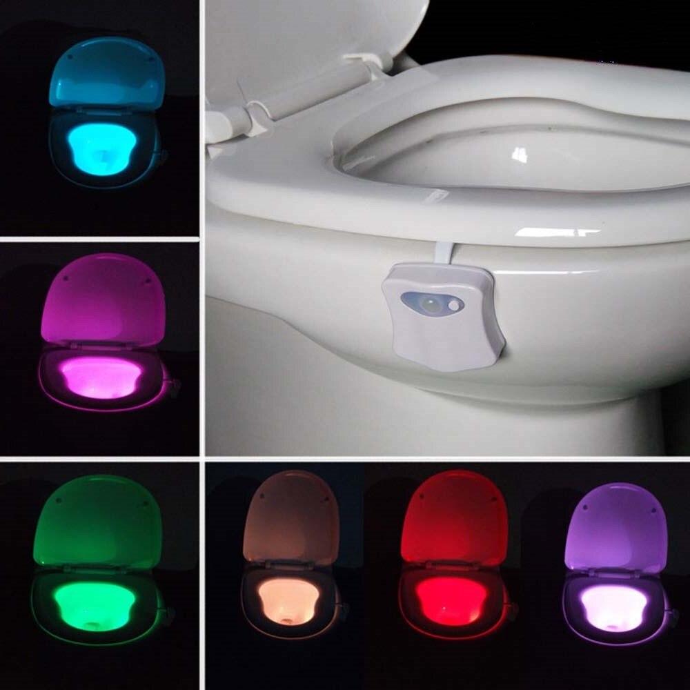 Ночник движения Сенсор Туалет светодиодный свет лампы 8 расцветок изменение Батарея работает Ванная комната Smart светодиодный RGB ночного осв... ...