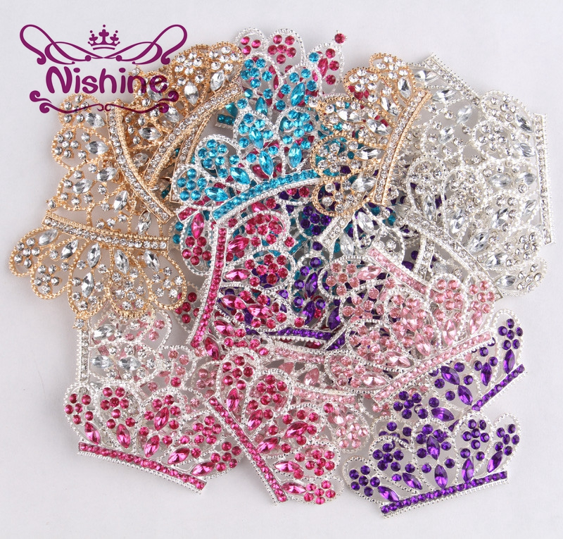 Nishine 5PCS Diy Bling Alloy Crown Button For Girls Women Headband Wedding Party Bride Headwear Hair Embellishment Buttons