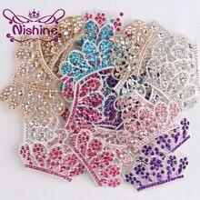 Nishine 5 шт. Diy Bling сплав Корона кнопка для девочек женщин головная повязка Свадебная вечеринка невесты головные уборы кнопки для украшения волос