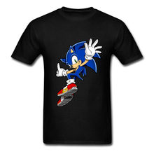 Teenager Fitted T-Shirt Men Sites Sonic Game Tee with anime Cartoon Sonic The Hedgehog Great Choice T Shirt Men streetwear(China)