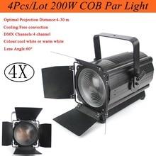 4Pcs/Lot High Quality 200W COB Par Light DMX Stage Lights Business Professional Flat Can for Party KTV Disco