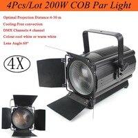 4Pcs/Lot High Quality 200W COB Par Light DMX Stage Lights Business Lights Professional Flat Par Can for Party KTV Disco