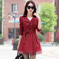 2016 high quality fashion women slim lace decoration double-breasted trench coat/Ms pure color long leisure coat