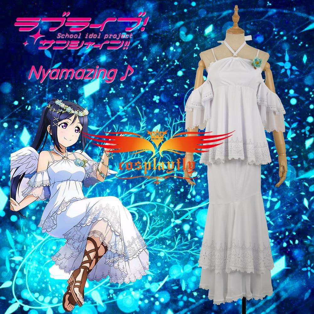 Love Live Matsuura kanan Skirt Cosplay Costume Angels Unawakened Sexy Open Back Party White Mermaid Dress Custom Women W1189-1