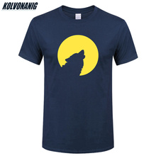 2019 Summer Mens Clothing Wolf howl To The Moon Funny Printed T-Shirt Men Cotton Short-Sleeve Casual Oversized T Shirts Tops