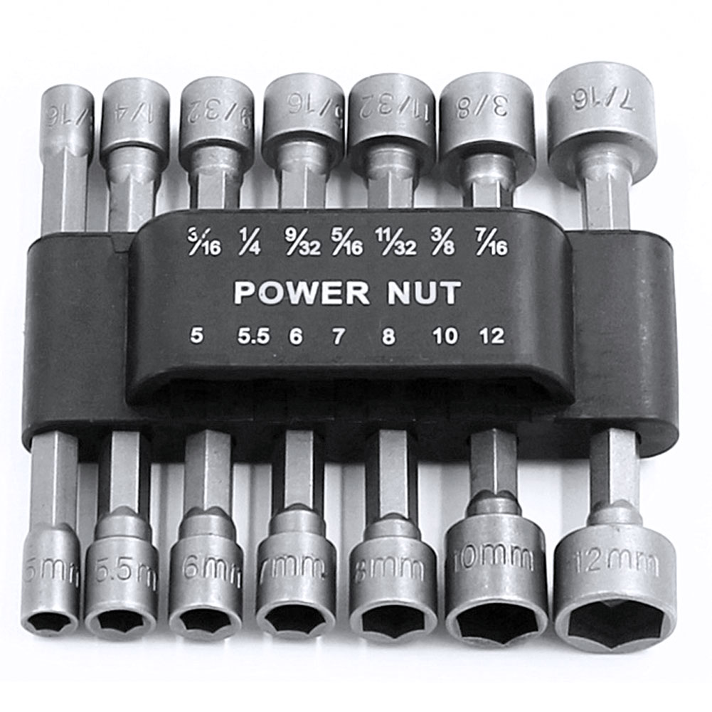 High Quality 14Pcs Power Nut Driver Adapter Drill Bit Set Metric Socket Wrench Screw 1/4 Inch Hex Shank Quick Change Screwdrive 20pcs m3 m12 screw thread metric plugs taps tap wrench die wrench set
