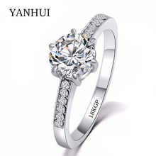 BIG Slae!!! Luxury 18KGP Stamp White Gold Filled Rings Set Top SONA 8mm 1 Carat CZ Diamant Gold Wedding Rings For Women JZR001