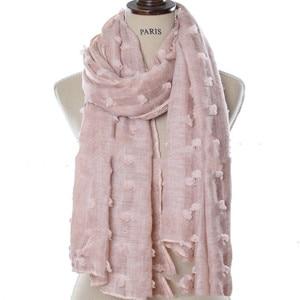 Image 4 - M3 Hohe qualität gefärbt gedruckt crinkle hijab plain viskose schal hijab schal frauen lange schal/schals 10 stücke 180*90cm