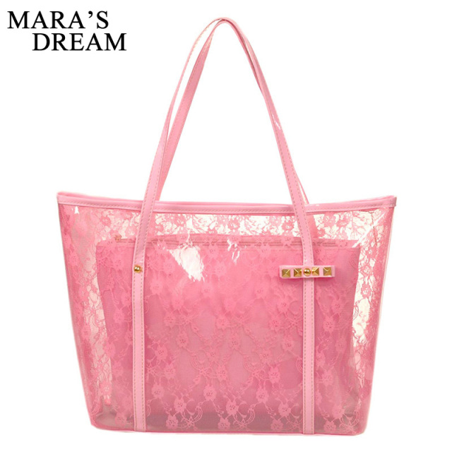 Mara S Dream Lady Printing Flower Handbags Designer Tote Bag See Through Shoulder Bags Clear Transparent