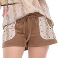 Plus Size Woman Vintage Style Brown Suede Elastic Waist Shorts Summer Casual Shorts