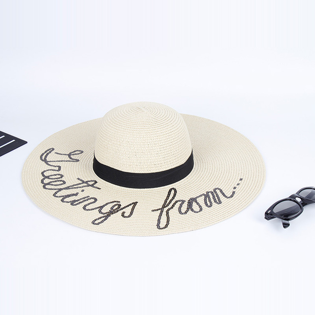 945f50991b9 Fashion Large Sun Hats Embroidered Letters Folding Straw Hat for Women Summer  Vacations Beach Hat Chapeu Feminino