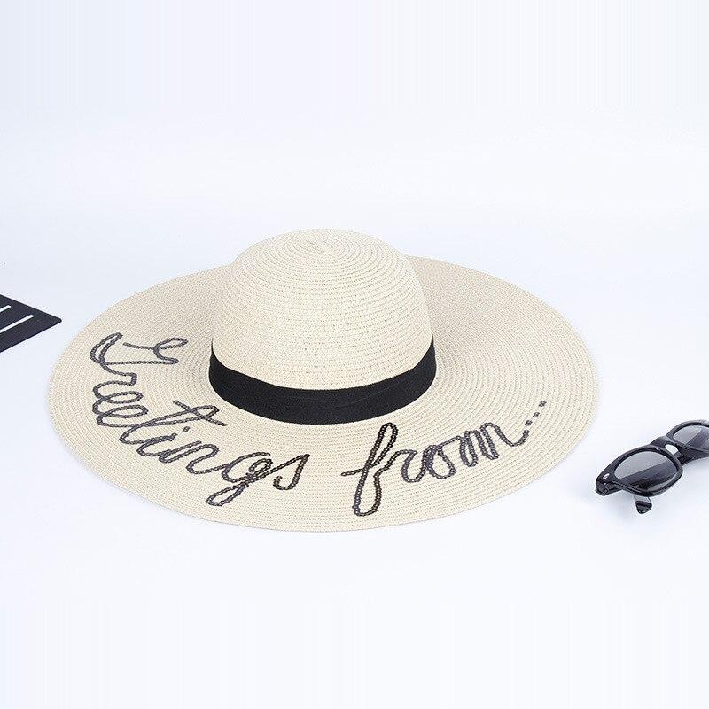 Moda gran Sombreros bordado cartas plegable sombrero de paja para las mujeres  verano vacaciones playa sombrero chapeu feminino b918cd80e66
