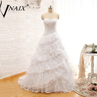 W1101 Real Photos Strapless Layers Lace Long Detachable Train Ball Gown Two Pieces Wedding Dresses Bridal Gown Vestido De Novia