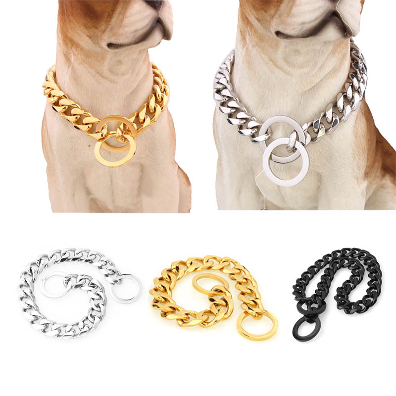 Jewelry Designer Slip Choke Dog Collar Chormed Steel Chain With Heavy Duty O Ring-fit For Yorkie Terrier French Bulldog Pitbull