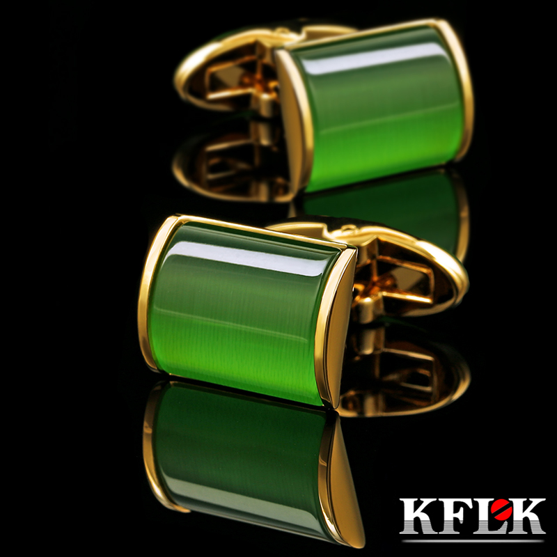 KFLK jewelry shirt cufflink for mens Brand Green Cuff link Wholesale Button High Quality Luxury Wedding colorGold guests