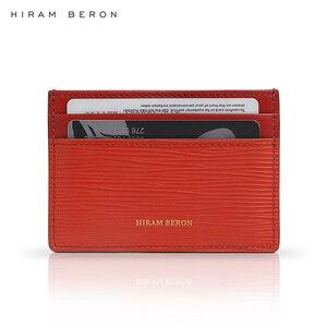 Кожаный держатель для карт Hiram Beron, Классический Тонкий чехол из натуральной кожи с карманом для карт