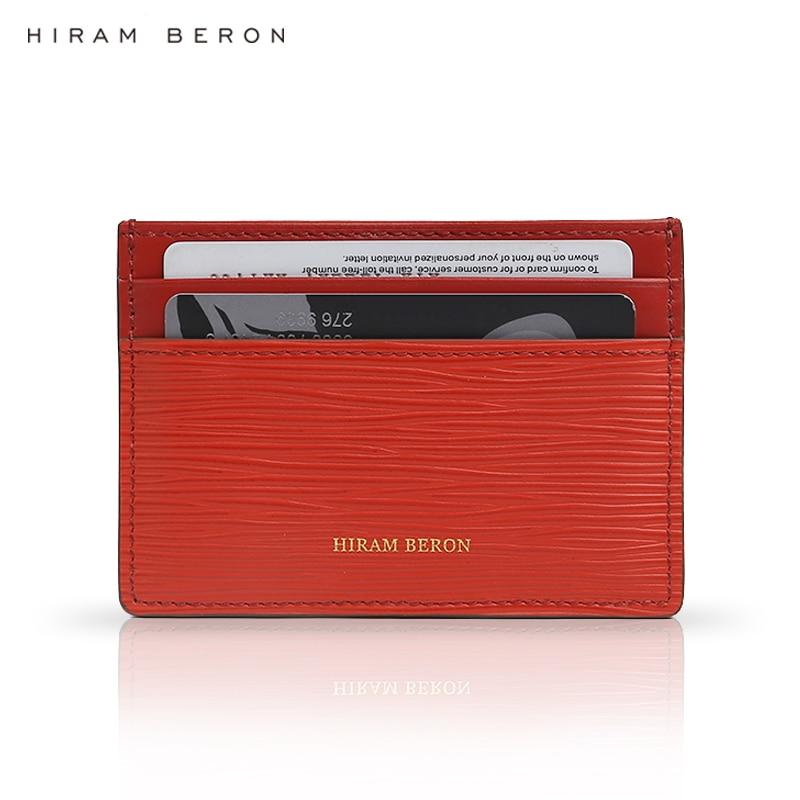 Hiram Beron Monogrammed Leather Card Holder Real Leather Slim Case Quality Classic Card Bag Custom Name Dropship