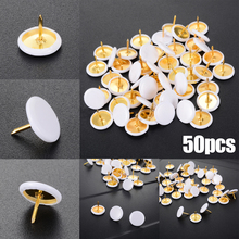 50pcs White Round Shape Push Pins Thumb Tacks for Office School Notice Board Cork Paper