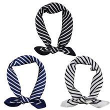 Women Vintage Geometric Striped Square Neck Scarf Office Lady Imitation Silk Decorative Neckerchief Bandana Headwrap multi striped bandana