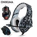 ONIKUMA PS4 гарнитура Casque PC Gamer Bass Игровые наушники с микрофоном + профессиональная проводная USB игровая мышь