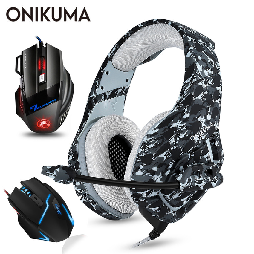 ONIKUMA PS4 Headset Casque PC Gamer Bass Gaming Headphones with Microphone + Pro Wired USB Gaming Mouse onikuma k5 gaming headset gamer casque deep bass gaming headphones for ps4 computer pc laptop notebook with microphone led light