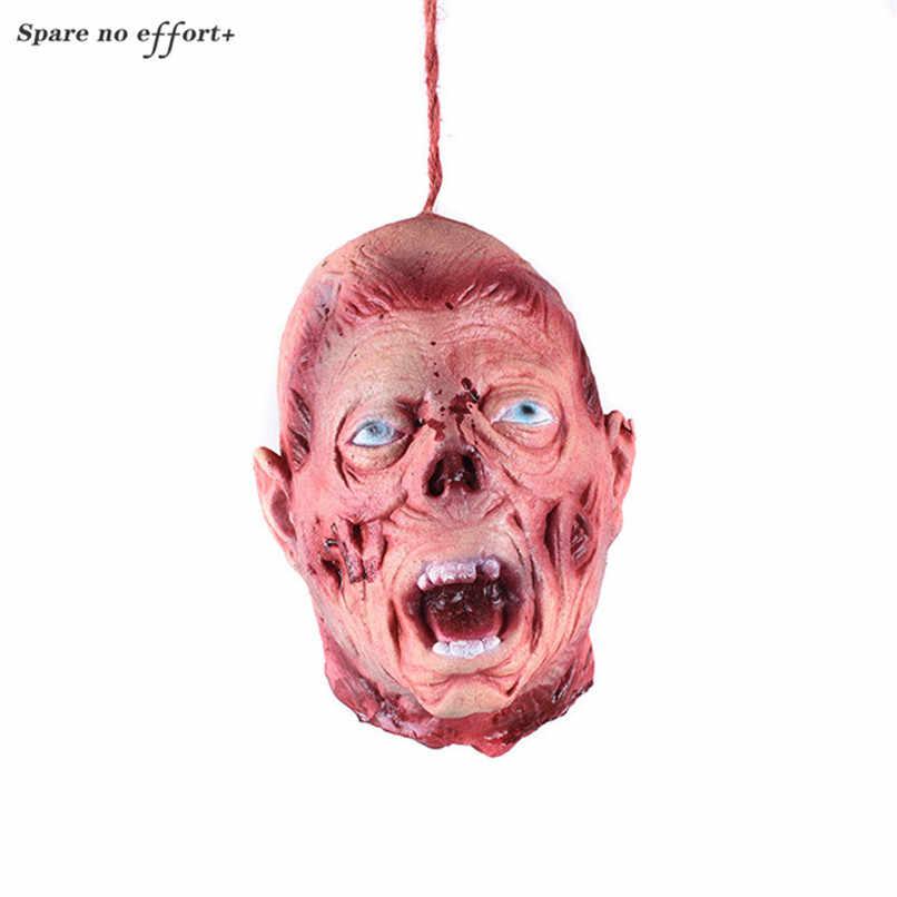 Halloween Horrível Cabeça Simulação Cabeça Sangrenta Cadáver Assustador Pendnat para Assustar Hauntde Casa Adereços Tricky Brinquedo Olhar Feroz