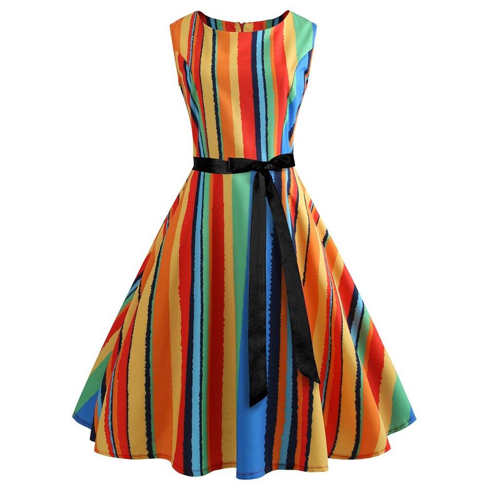 2018 zomer gestreepte jurk vrouwen mouwloze gewaad femme mode vintage - Dameskleding