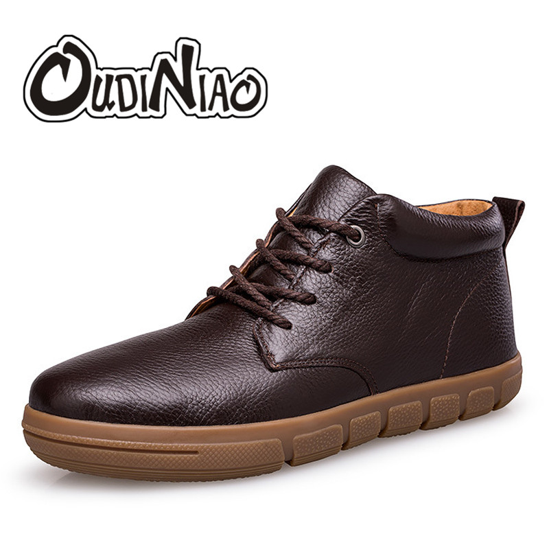OUDINIAO Classic Cow Leather Round Toe Warm Plush Ankle Men Boots Lace Up Designer Fashion Winter Boots Men Large Big Size 10pcs 2 1mm x 5 5mm male dc power plug socket jack connector black plastic cover s018y high quality