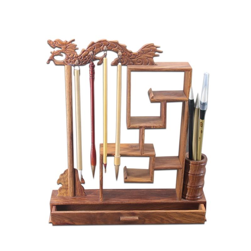 Unique Solid Wenge Wood Writing Brush Holder 12 Hangers Calligraphy Penholder Study Treasure Traditional Painting Brush Rack