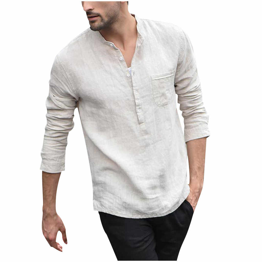 New Men Vintage White Shirt Button Linen Shirts Men Long Sleeve Retro Gentleman Tops Blouse Moda Masculina Camicia Uomo #W