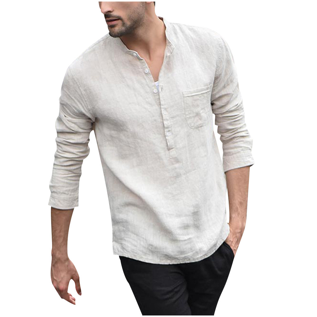 Mens Linen Cotton Shirts Long Sleeve