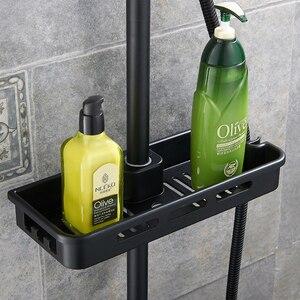Image 4 - Matte Black Rainfall Shower Faucet Set Single Lever Bathtub Shower Mixer Faucet with Storage Shelf Shower Hot Cold Water Tap
