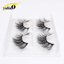 YALIAO 2 Pairs 3D Eyelashes Makeup Synthetic Fibers Fake Lashes Kit Natural Long Eyelash Extension Cosmetic Accessories