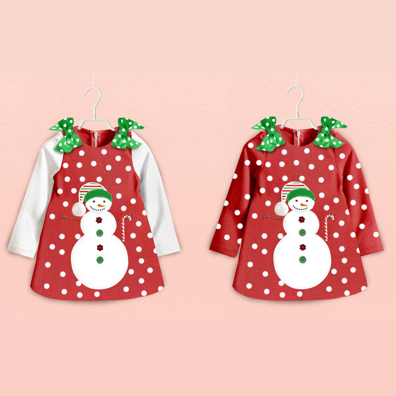 Fashion 2018 Baby Girl Clothes Toddler Infant Kids Red Christmas White Snowman Party Polka Dot Long Sleeve Dress Bebe Dresses