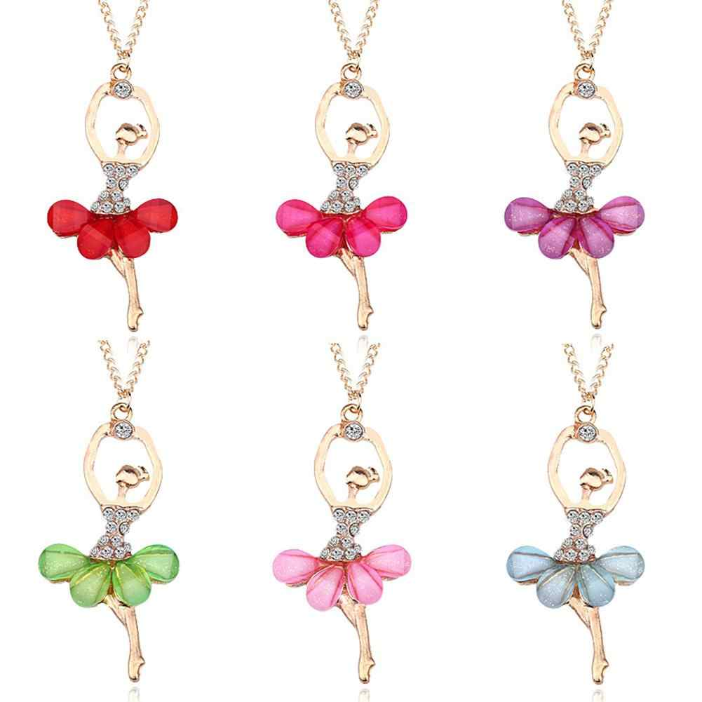 DreamBell Women Golden Color Ballerina Girl Necklace Exquisite Shimmer Rhinestone Pendant Necklace