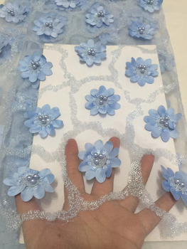3D Flower Fabric Blue Nigerian Wedding Lace 2018 French Lace Luxury Embroidered Tulle Fabric With Handwork Beads Materials CDF88