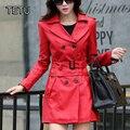 5XL Плюс размер Женщин Искусственной Кожи Куртка Качество PU/Искусственная Кожа Пальто Середине Долго Весна Осень Куртки Черный/красный/Зеленый HB-26