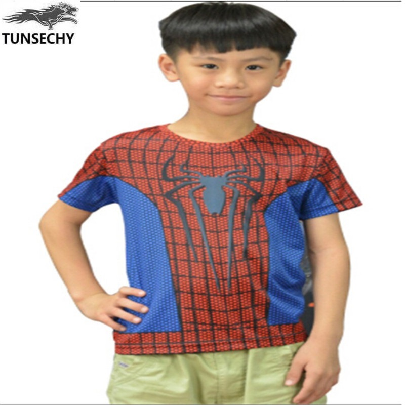 TUNSECHY2017 THE Avengers alliance extraordinary spider-man children's short sleeve T-shirt digital printing personality T-shirt