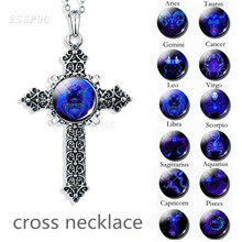 Cross Necklace 12 Constellations Silver Glass Cabochon Constellation  Men Women Christian Jewelry Gift Leo